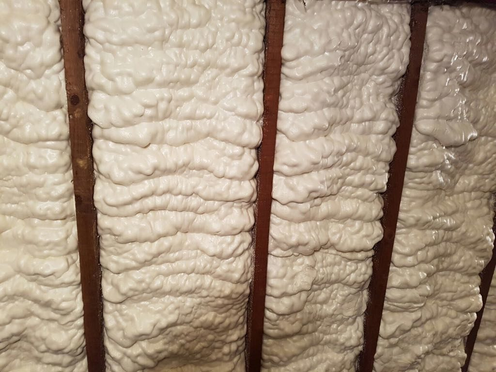 Spray foam insulation in a loft