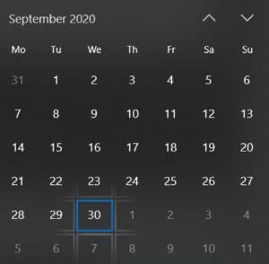 30th of September